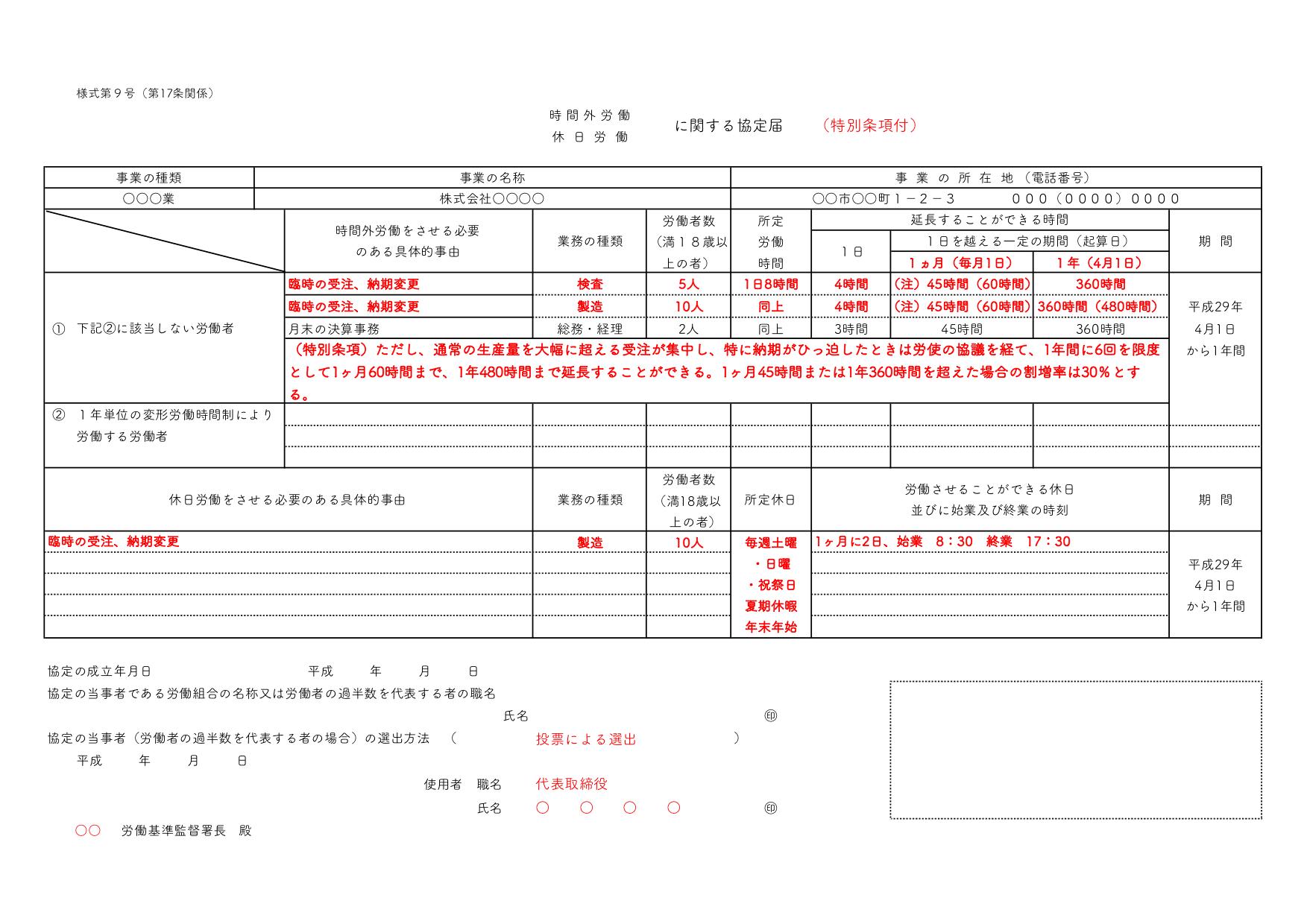 特別条項付き36協定の届出書の例