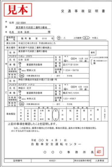 交通事故証明書